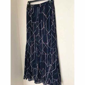 Banana Republic Navy Blue Printed Maxi Skirt Sz 0
